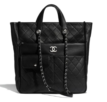 CHANEL Large zip shopping bag AS1299 black