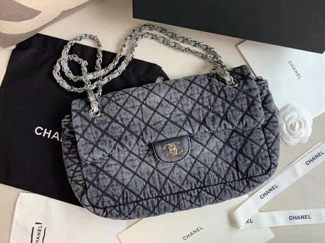 CHANEL Denim flap bag AS1113 grey