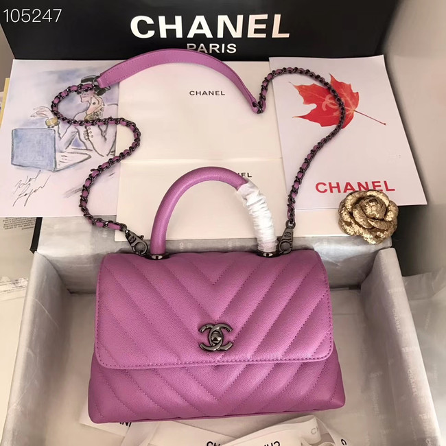 Chanel Small Flap Bag Top Handle V92990 Purplish