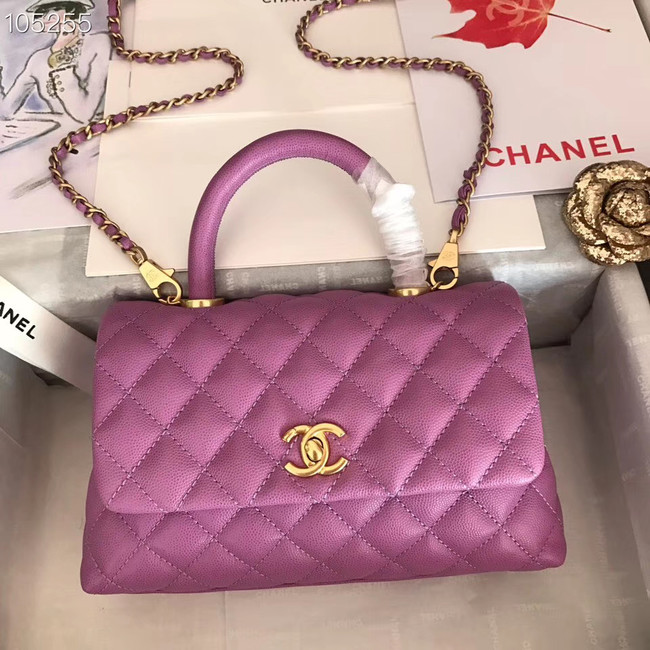 Chanel Small Flap Bag with Top Handle A92991 Purplish