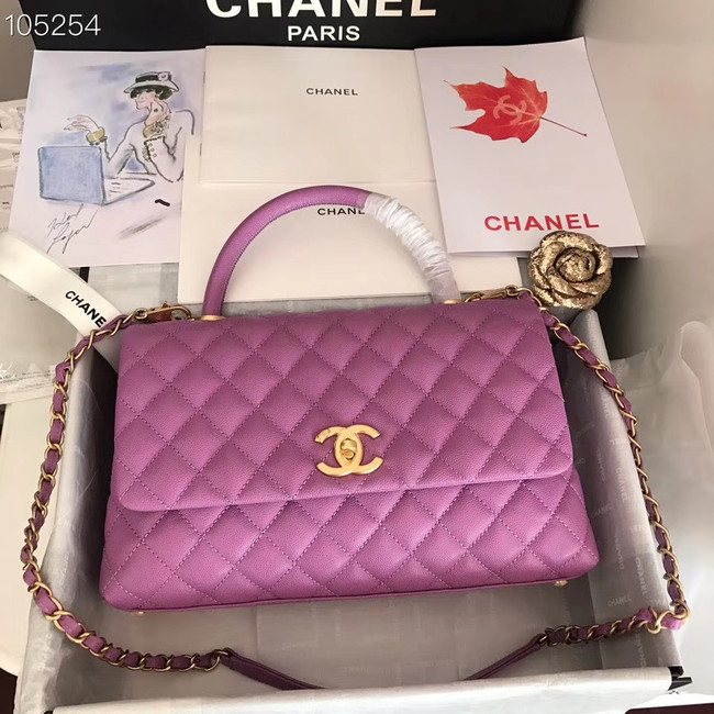 Chanel original Calfskin flap bag top handle A92292 Purplish&gold-Tone Metal