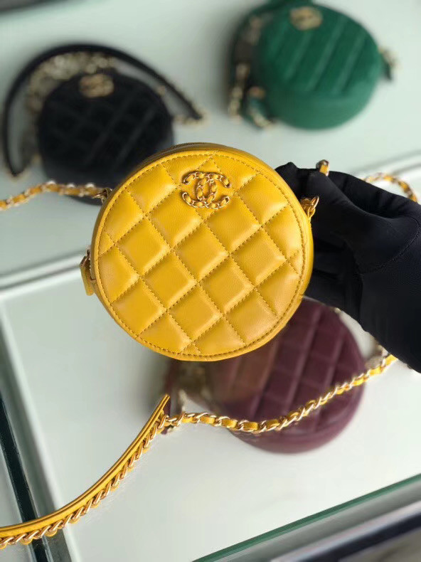 CHANEL Sheepskin Chain packet A0725 yellow