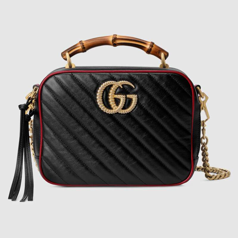 Gucci GG Marmont series small bamboo shoulder bag 602270 black