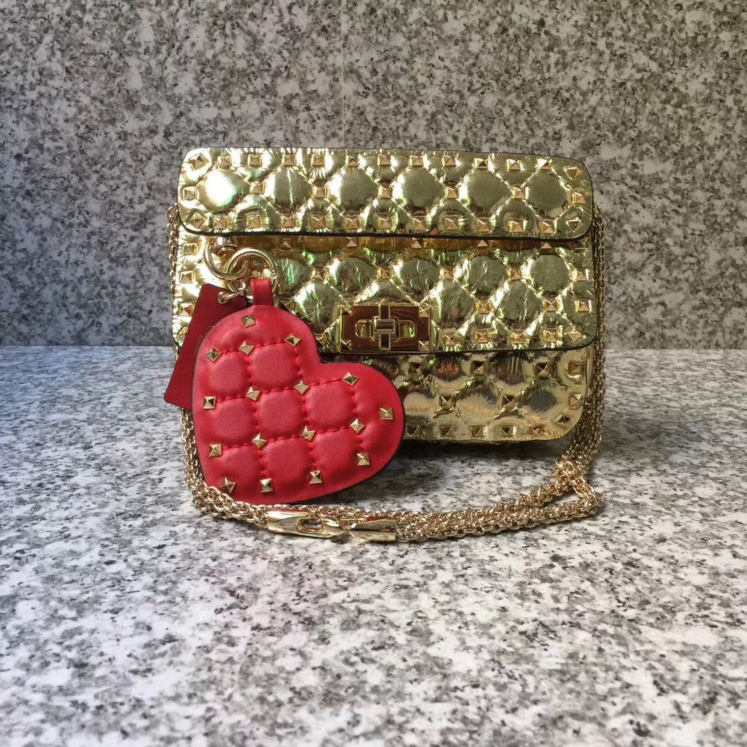 VALENTINO Rockstud small quilted leather shoulder bag 77562 Gold