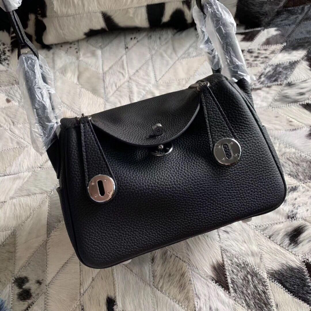 Hermes Mini Lindy Original Togo Leather Bag 5088 Black