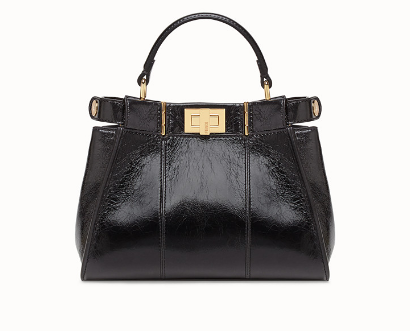 FENDI PEEKABOO ICONIC MINI Black leather bag 8BN244
