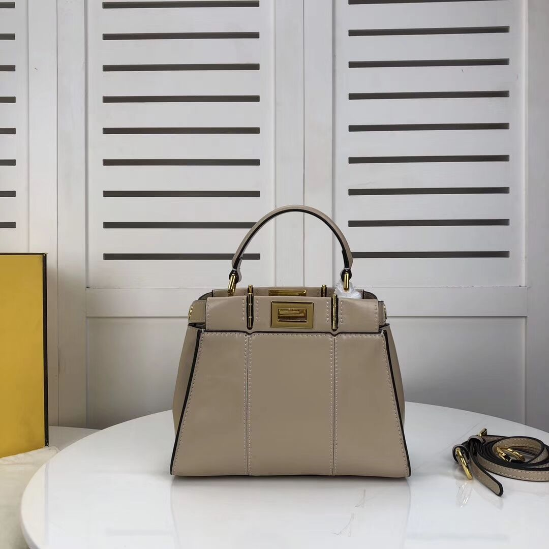 FENDI PEEKABOO ICONIC MINI cream leather bag 8BN244