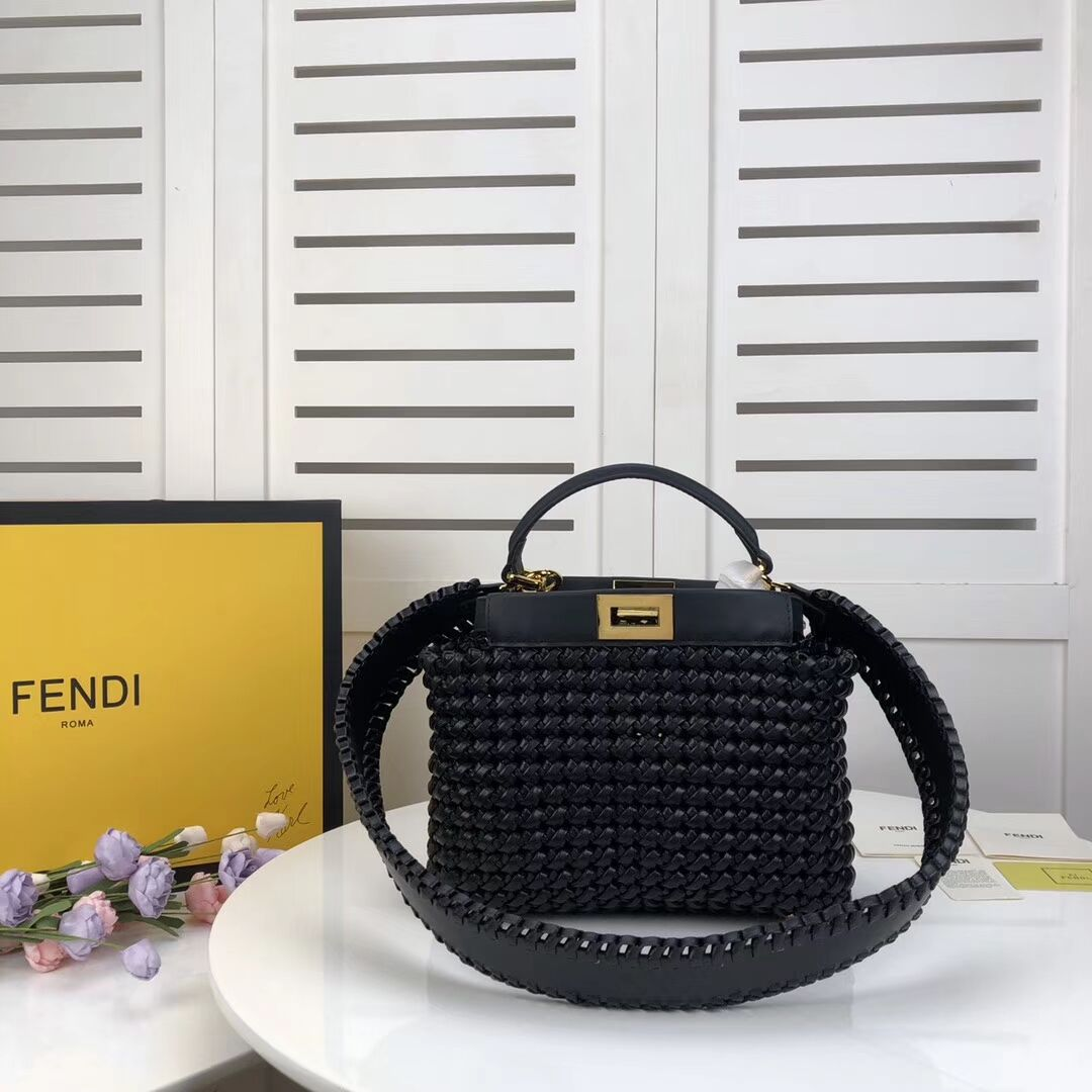 FENDI PEEKABOO ICONIC MINI leather bag 8BN244 black