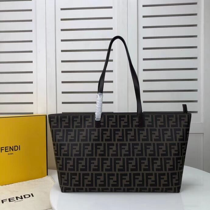 FENDI Shopper canvas bag F8008 brown