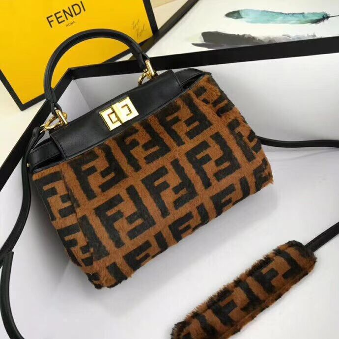 Fendi PEEKABOO REGULAR Horse hair F3302 Black