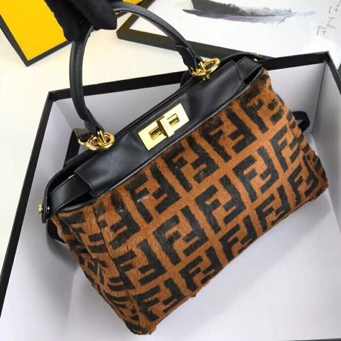 Fendi PEEKABOO REGULAR Horse hair F3303 Black