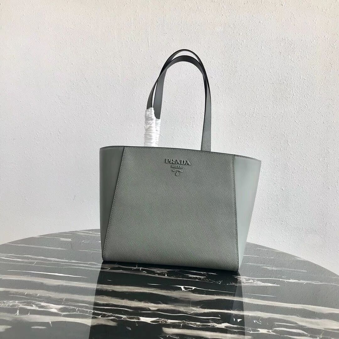 Prada Embleme Saffiano leather bag 1BG288 grey