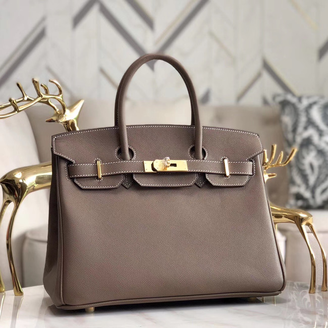 Hermes original Epsom Leather HB35O grey&gold Metal