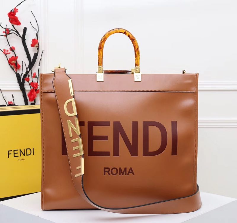 FENDI Shopper leather bag F6398 Brown