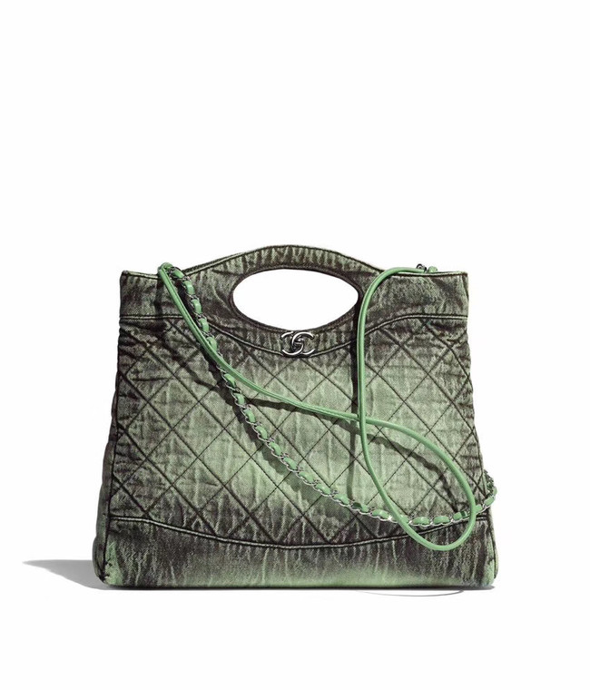 CHANEL Denim 31 Shopping bag AS1407 green