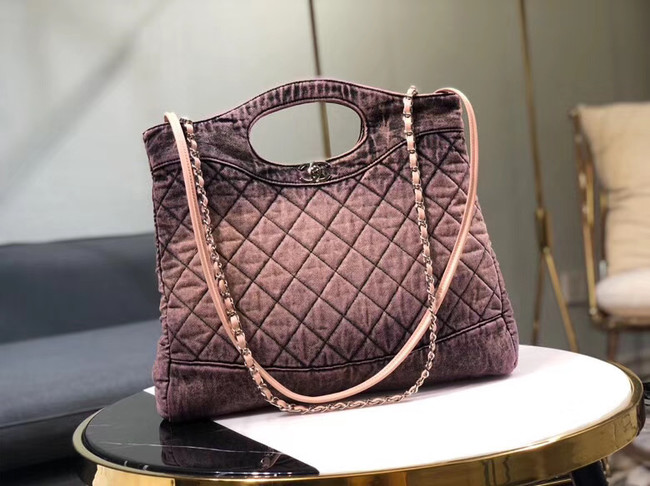 CHANEL Denim 31 Shopping bag AS1407 pink