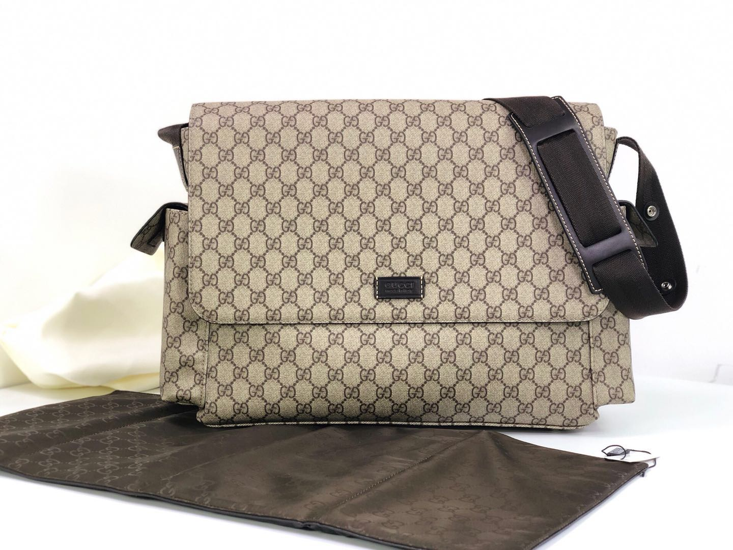 Gucci Messenger Diaper Bag GG Plus 211131 Grey