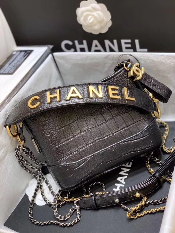 Chanel Gabrielle Hobo Original Crocodile Leather Bag A93824 Black