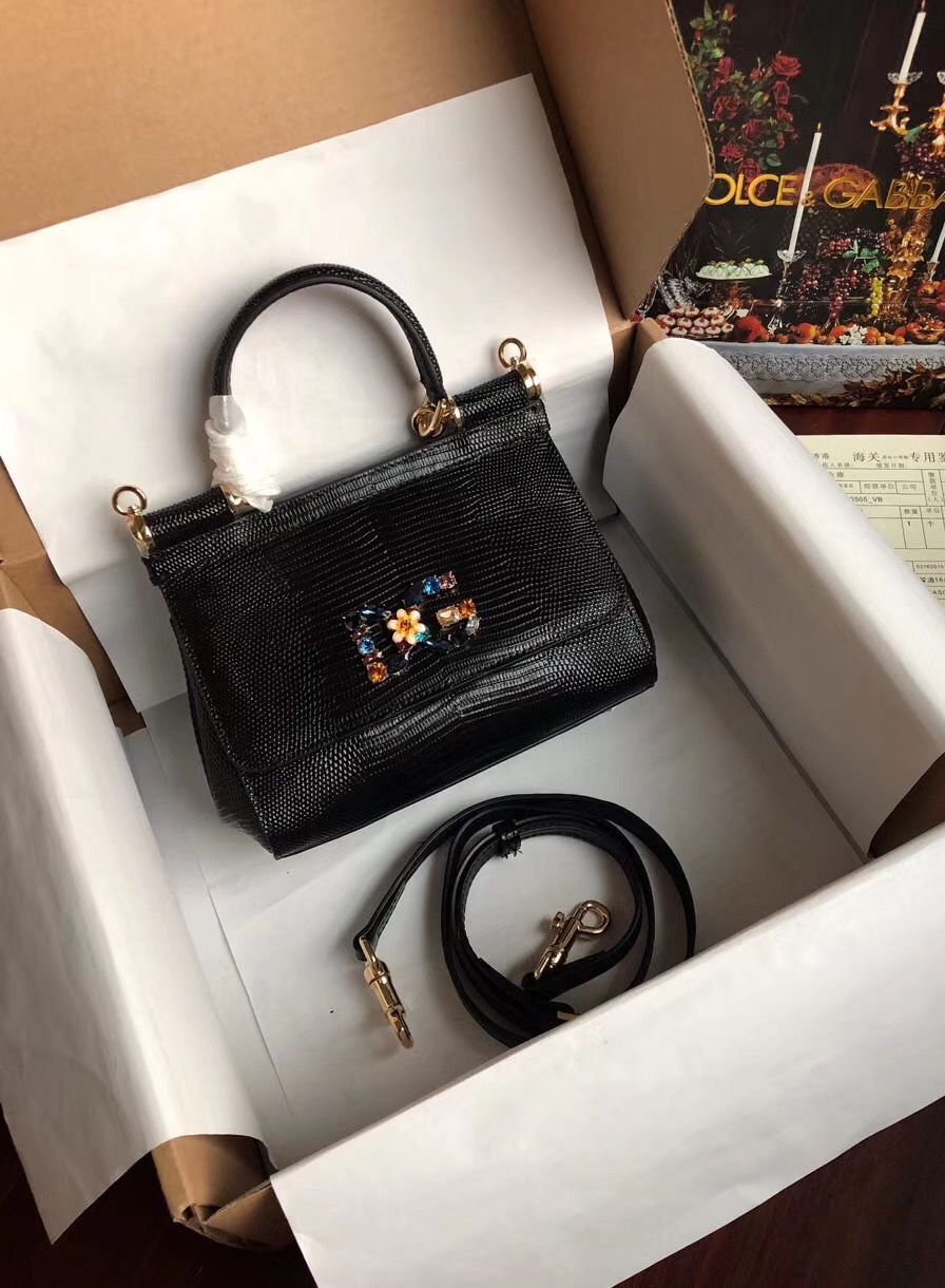 Dolce & Gabbana Origianl Lizard Leather Flower Logo Bag BB4137 Black