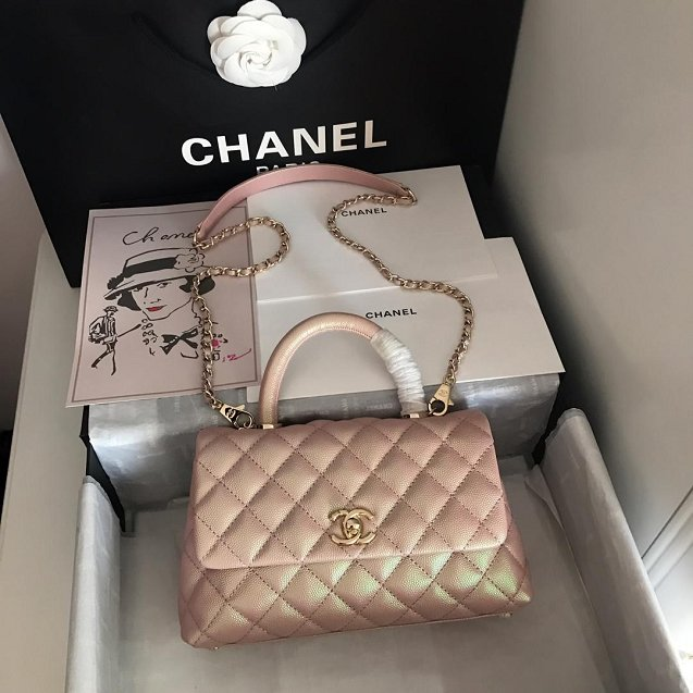 Chanel Small Flap Bag with Top Handle A92990 Light Pink