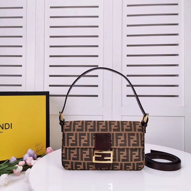 FENDI BAGUETTE fabric bag 8BR011 Coffee