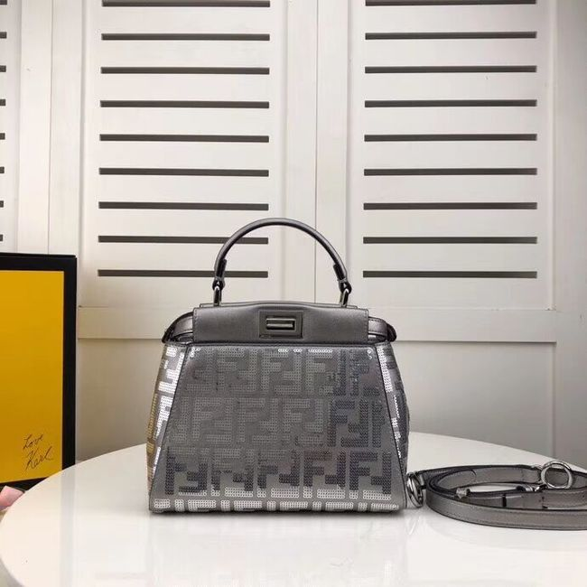 FENDI PEEKABOO ICONIC leather bag F0335 Silver