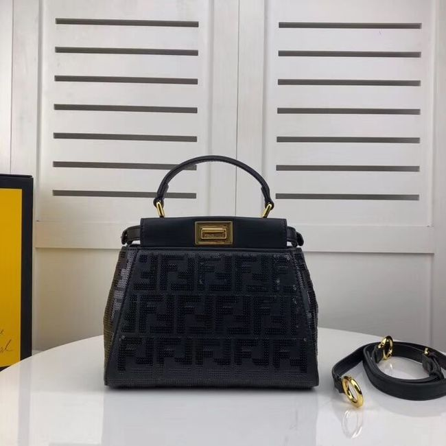 FENDI PEEKABOO ICONIC leather bag F0335 black