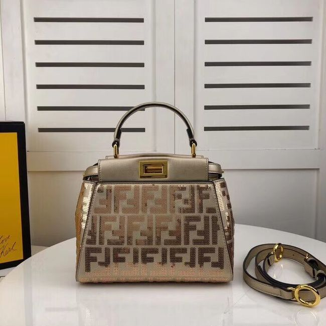 FENDI PEEKABOO ICONIC leather bag F0335 gold