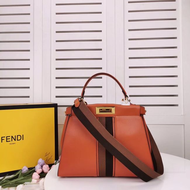 FENDI PEEKABOO ICONIC leather bag F0826 orange