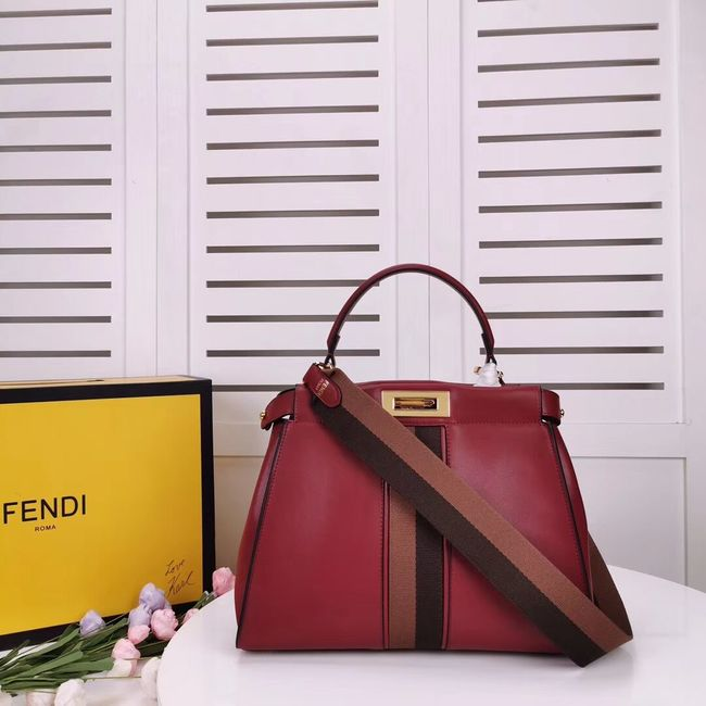 FENDI PEEKABOO ICONIC leather bag F0826 red