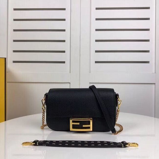 Fendi BAGUETTE leather bag F2467 black