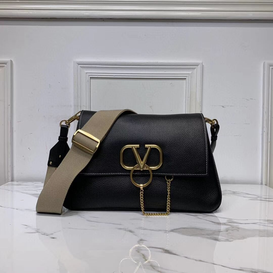 VALENTINO Origianl leather shoulder bag V0888 black
