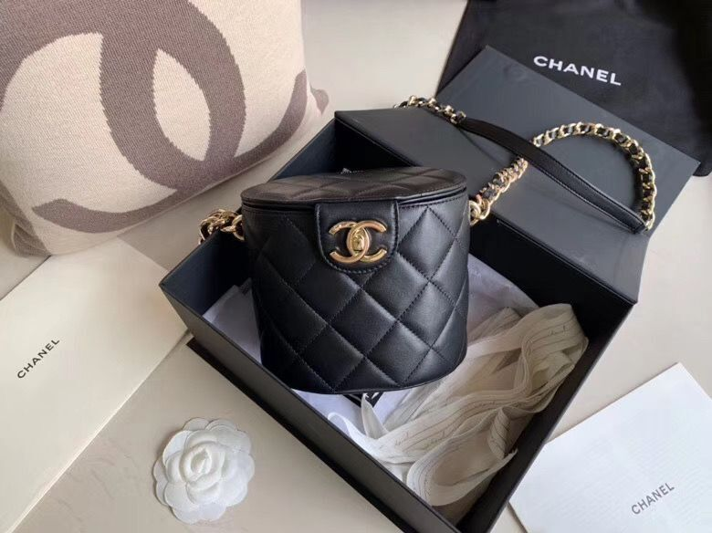 Chanel Original Leather Cosmetic Bag Resin Chain Bag C63298 Black