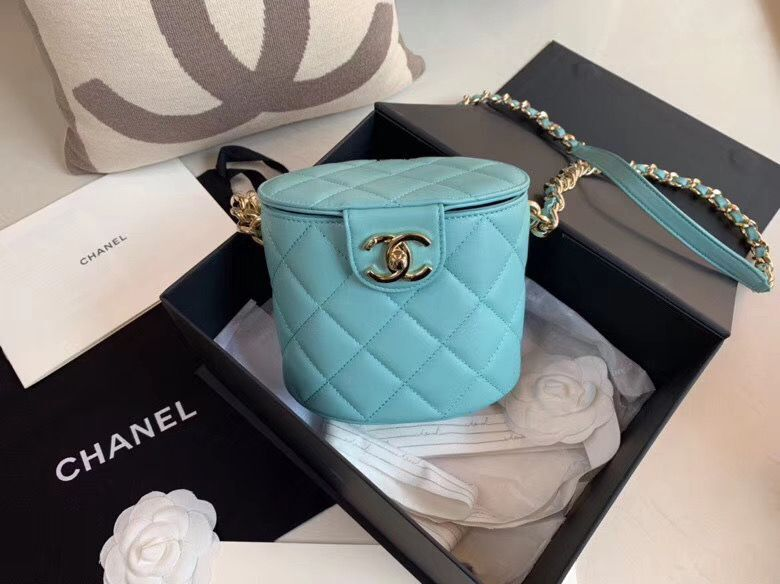 Chanel Original Leather Cosmetic Bag Resin Chain Bag C63298 Green