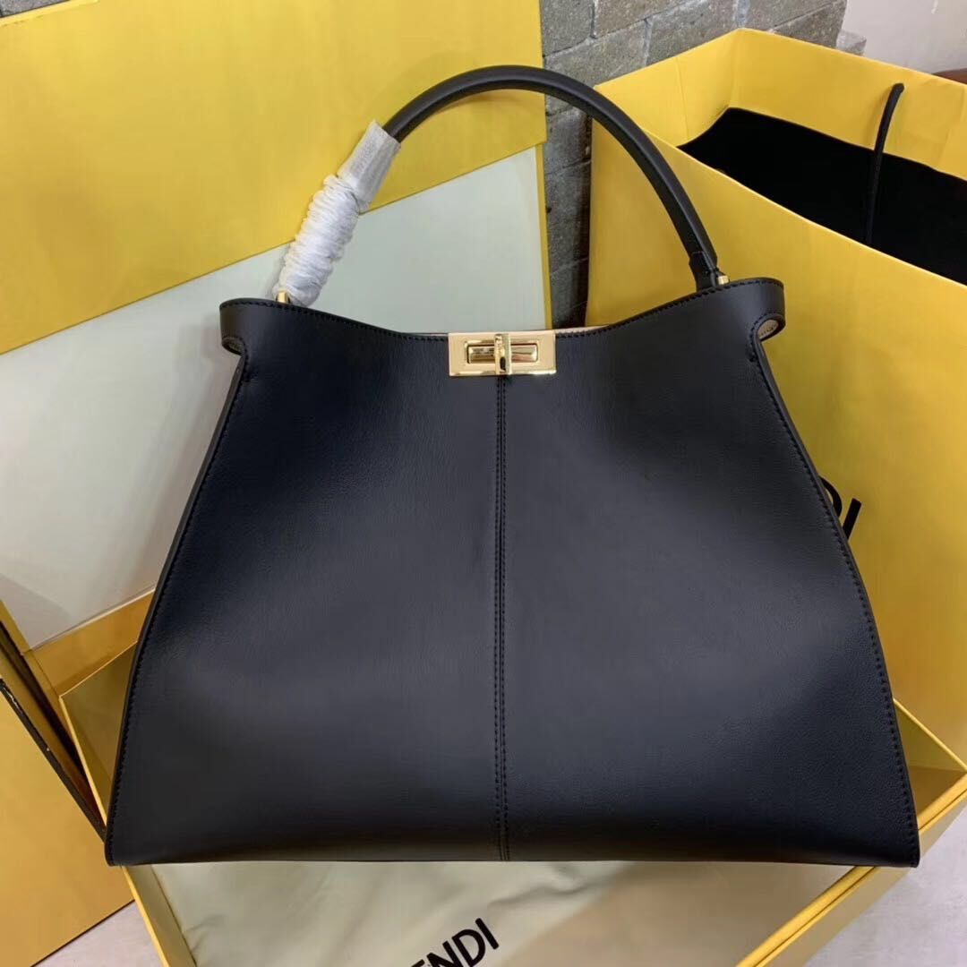 Fendi Original Leather PEEKABOO Bag 3655 Black