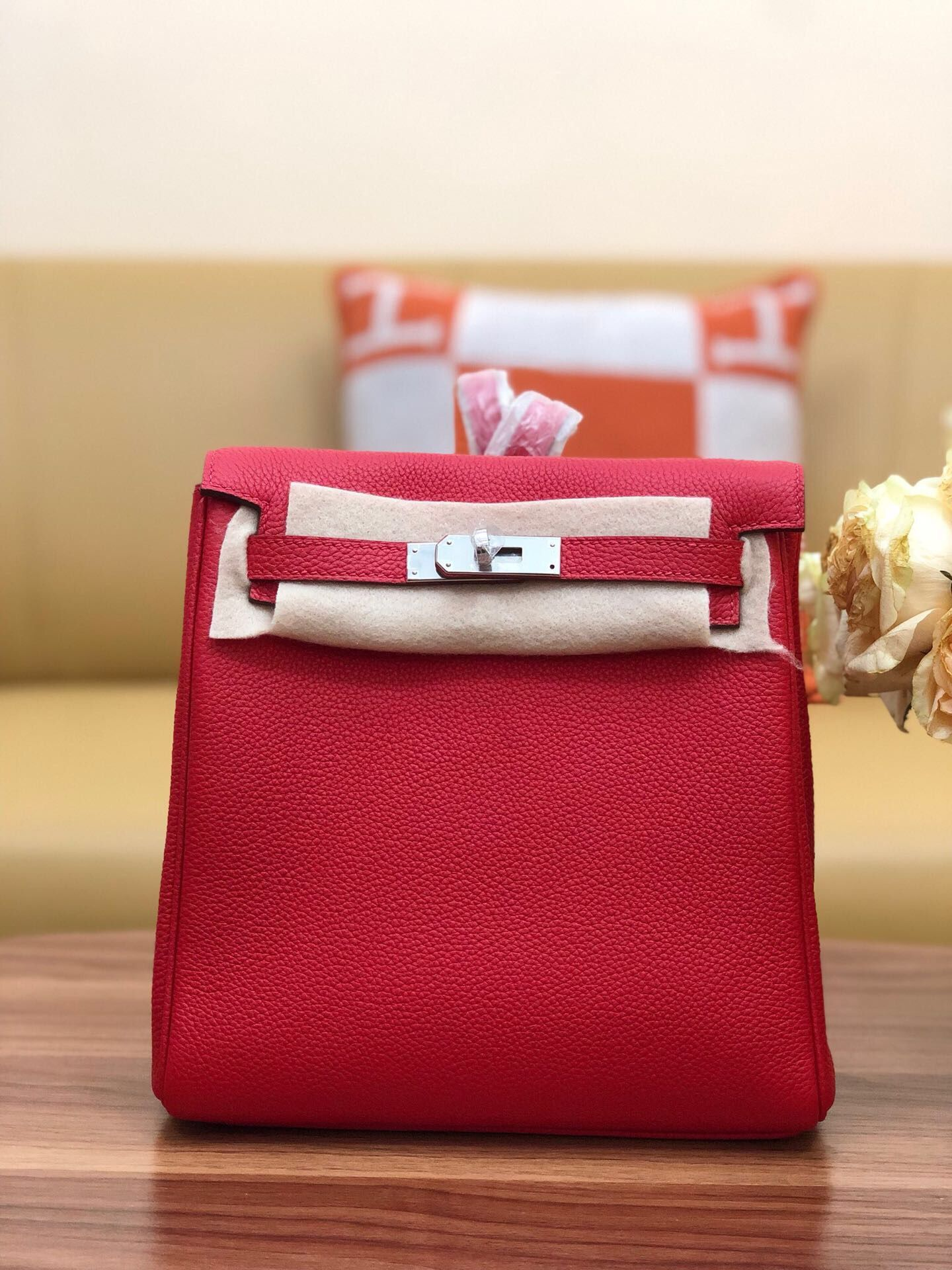 Hermes Kelly togo Leather backpack H2425 red