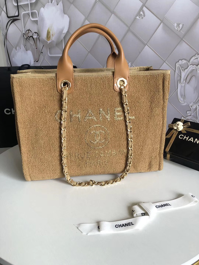 Chanel Canvas Shoulder Shopping Bag 66941 yellow