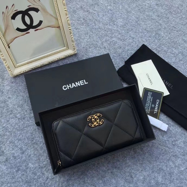 CHANEL 19 sheepskin & Gold-Tone Metal Wallet AP1063 black