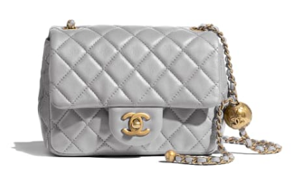 Chanel MINI Flap Bag Original Sheepskin Leather AS1786 Light grey