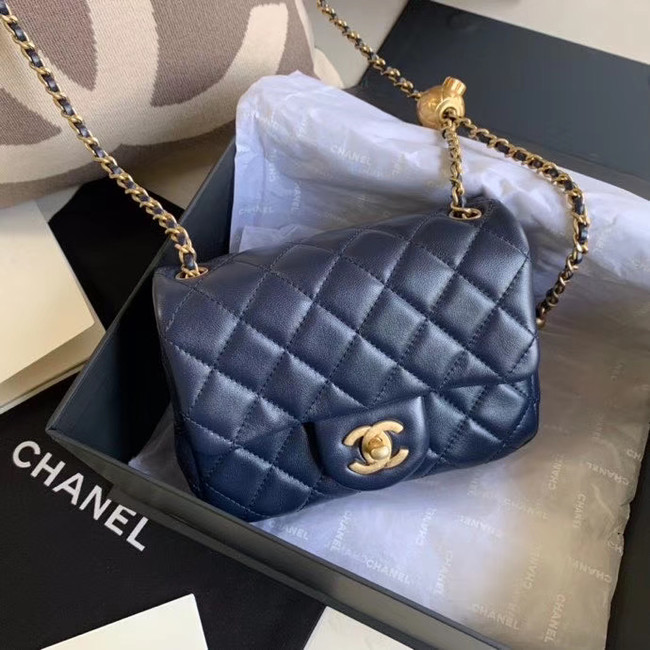 Chanel MINI Flap Bag Original Sheepskin Leather AS1786 Navy Blue