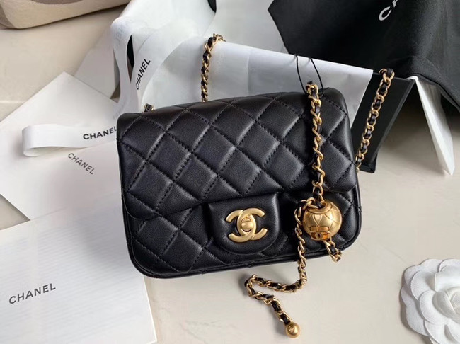 Chanel MINI Flap Bag Original Sheepskin Leather AS1786 black