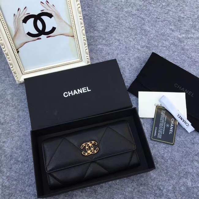 Chanel sheepskin & Gold-Tone Metal Wallet AP0955 black