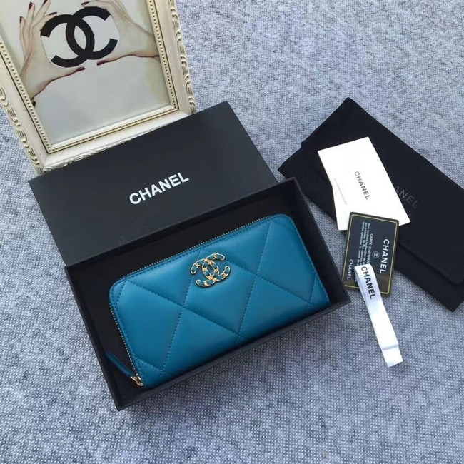 CHANEL 19 sheepskin & Gold-Tone Metal Wallet AP1063 blue