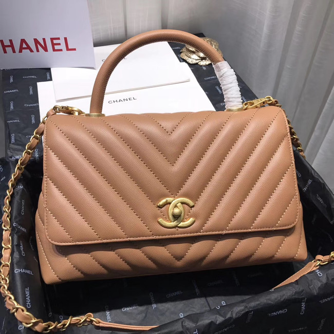 Chanel Flap Bag with Top Handle A92991 Light Pink & gold-Tone Metal