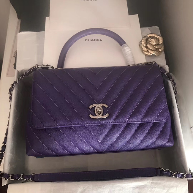 Chanel Flap Bag with Top Handle A92991 dark purple & silver-Tone Metal
