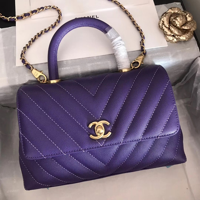 Chanel Small Flap Bag with Top Handle V92990 dark purple & gold-Tone Metal