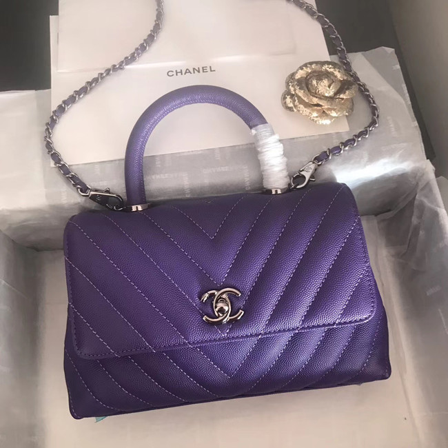 Chanel Small Flap Bag with Top Handle V92990 dark purple & silver-Tone Metal