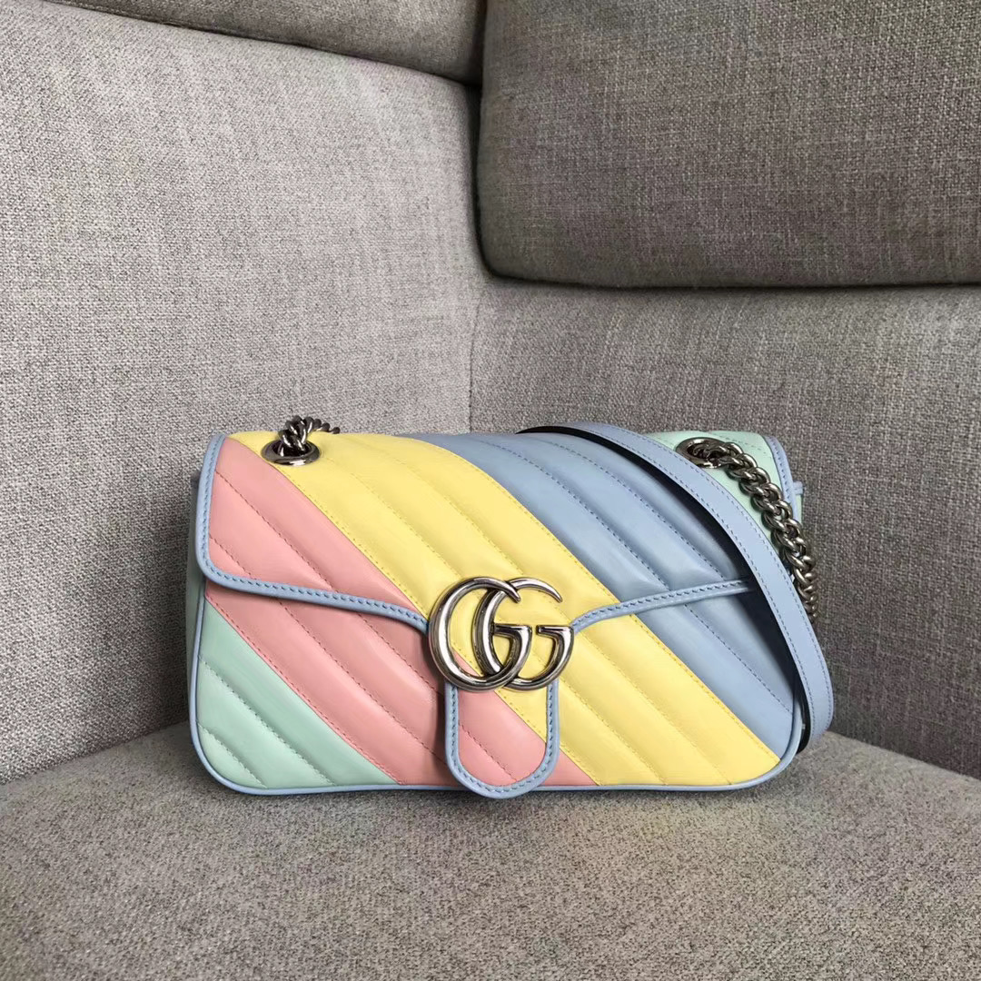 Gucci GG Marmont small shoulder bag 443497 green&pink&yellow&blue