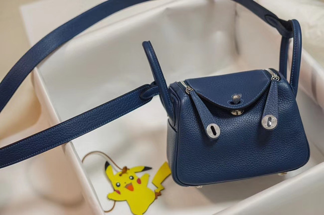 Hermes mini Lindy Togo Leather Bag LD19 blue&Silver-Tone Metal