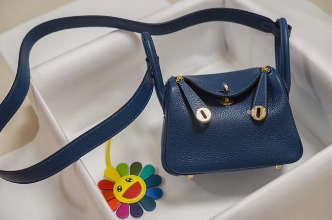 Hermes mini Lindy Togo Leather Bag LD19 blue&gold-Tone Metal